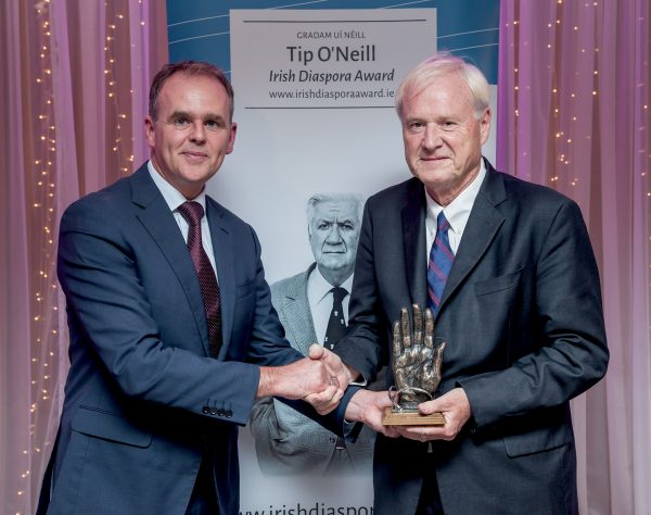Minister of State for the Diaspora and International Development Joe McHugh TD. Presenting Chris Matthews with the 2016 Tip O'Neill Irish Diaspora Award in the Inishowen Gateway Hotel on Friday 23 September 2016.